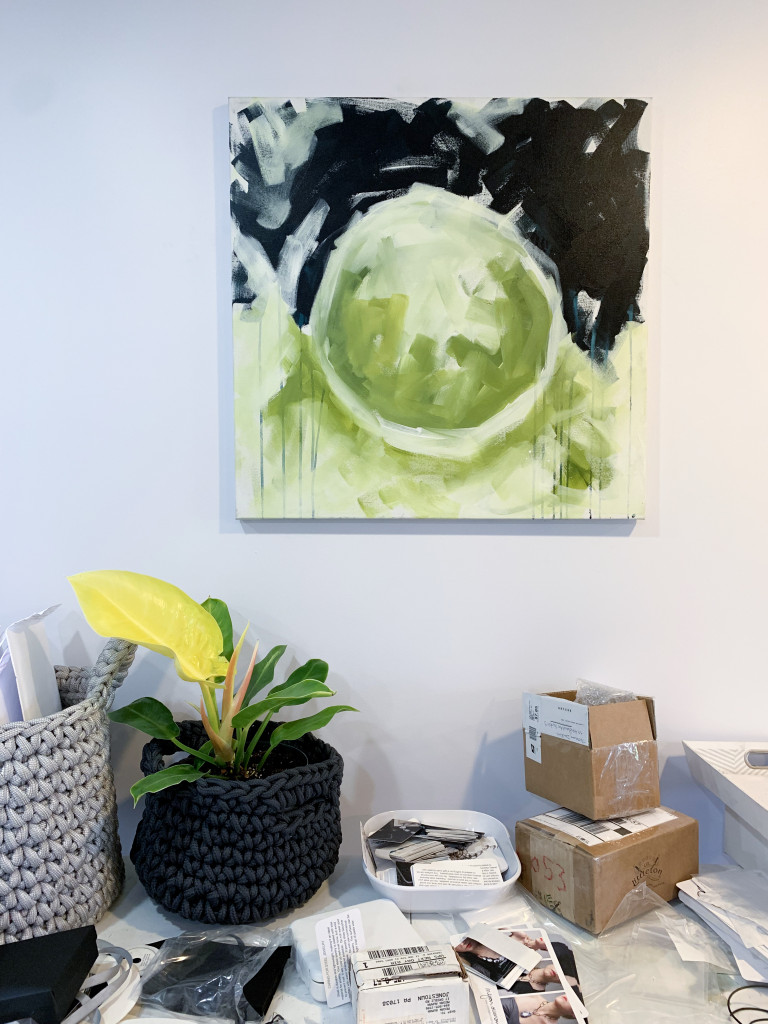 abstract painting over shipping station in artist and maker megan auman's studio