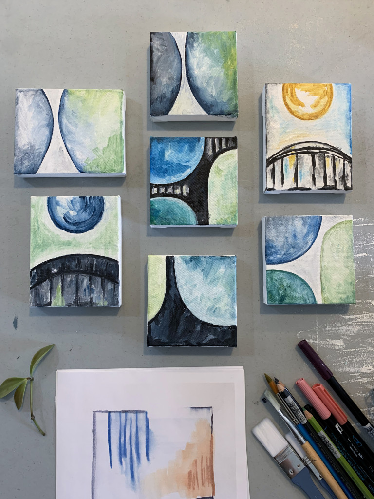 tiny oil paintings - small wall art grouping