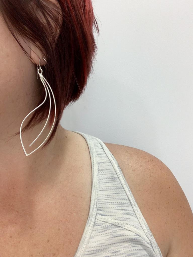 minimal wire statement earrings