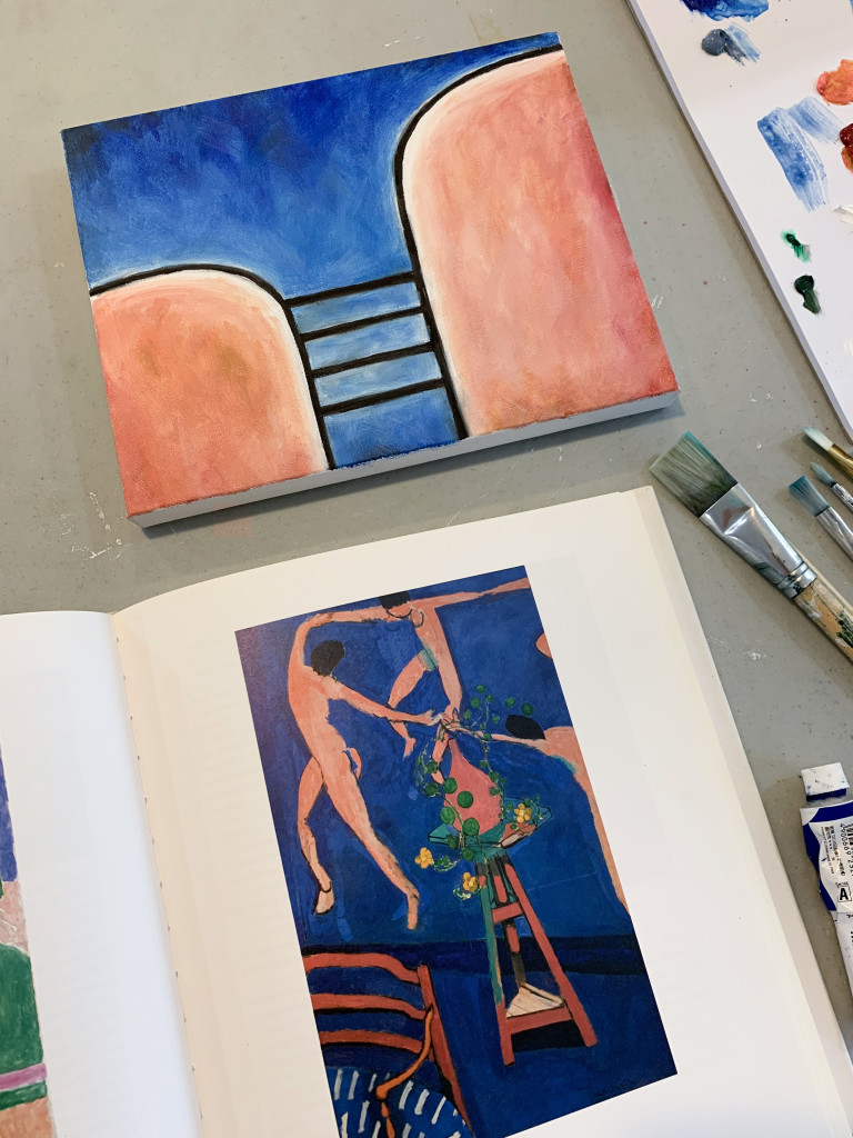 one of a kind modern graphic painting by megan auman with a color palette inspired by Matisse