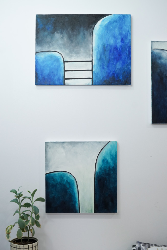 Original paintings by Megan Auman - bold graphic modern art for small spaces that explores the tension between connection and isolation