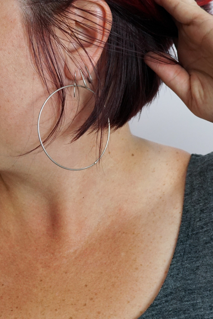 ear stack with circle statement earrings