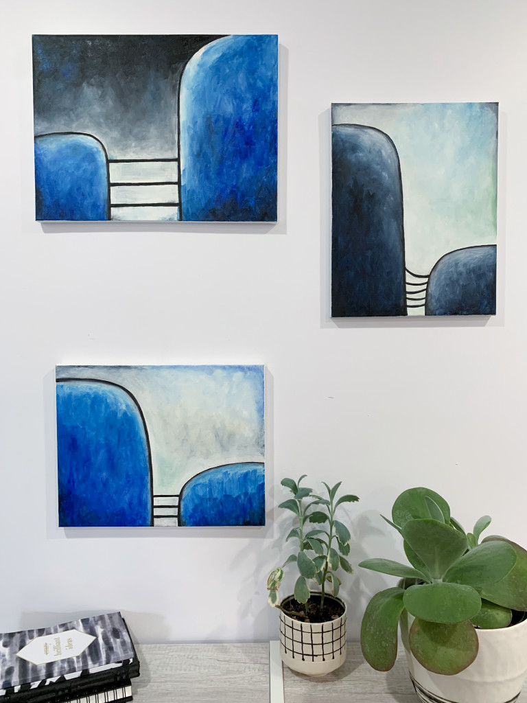 modern art and decor - paintings and plants